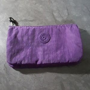 KIPLING Purple Zipper Pouch Makeup Cosmetic Bag